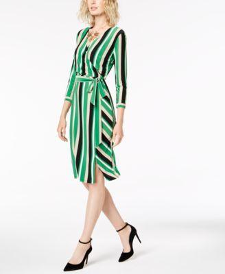 I N C Striped Wrap Dress Created For Macy S Macys Com Wrap Dress Review Dresses Womens Dresses