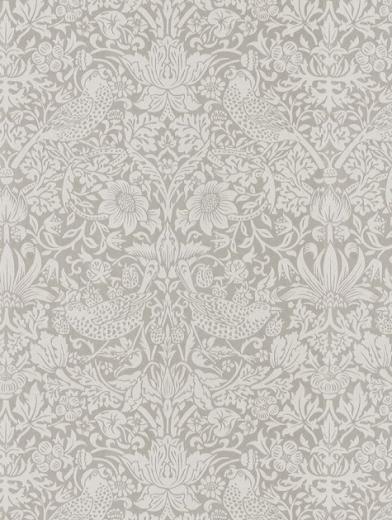 216017 Pure Strawberry Thief Silver Stone Aa2 Dmpu216017 Www Tallantyre Interiors Co Uk William Morris Wallpaper Pinterest Wallpapers