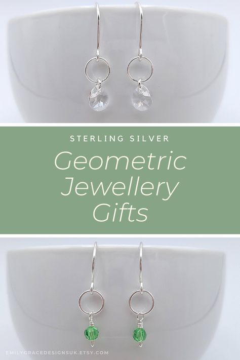 Looking for handmade sterling silver geometric crystal earrings to make that perfect jewellery gift for yourself or that special someone? Find just what you are looking for at Emily Grace Designs. A wide selection of beautiful handmade earrings made in sterling silver and embellished with Swarovski® crystals. Shop now to find the perfect treat or gift. #handmadegift #swarovskiearrings #crystalearrings #sterlingsilver