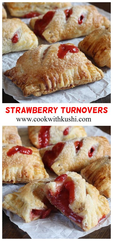 Strawberry Turnovers are quick and easy to make pastries, with delicious sweet and tart filling on the inside, crispy and flaky texture on the outside.   These can be served for breakfast, snacks and dessert. #turnovers #summerdessert #thanksgivingdessert #christmasdessert #summerfood #strawberries #strawberrytart #puffpastries #applepieturnovers #puffpastryrecipes #puffpastrydessert  #shortcake #strawberryrecipes #crumbbars #strawberrypie #snacks #breakfastideas #