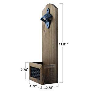 Vintage Wall Mounted Wooden Bottle Opener With Cap Catcher Ideal Gift For Men A In 2020 Wooden Bottle Opener Bottle Opener Wall Wood Bottle Opener
