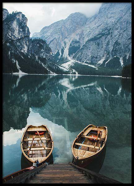 Scandinavian Nature Poster Mountain Reflection Canyon Landscape Canvas Art Print