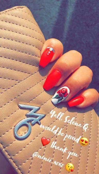 Como La Flor Love My Tech Dluxe Nail Salon In Oak Lawn Il Rednails Rose Selena Nochip Acrylic Rhinestones Summer Red Nails Nails 31st Birthday