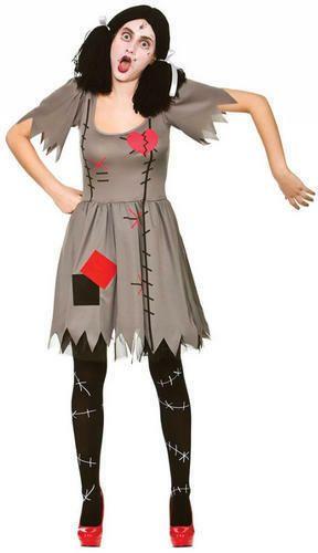 Adult Voodoo Dolly Costume Halloween Zombie Horror Doll Ladies Fancy Dress