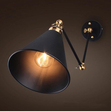 Vintage Industrial Wall Lamp 270 Swing Arm Wall Sconce Light Wall Mounted Metal Lampshade Walmart Com Wall Lights Swing Arm Wall Lamps Wall Lamps Bedroom
