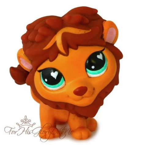 ✵Littlest Pet Shop✵LPS✵758✵BROWN JUNGLE SAFARI HEART LION CAT✵TEAL EYES✵HTF✵RARE