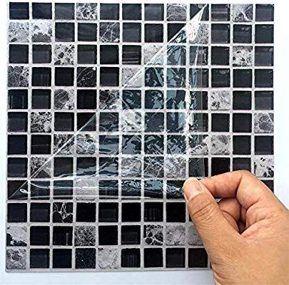 Ingeniously Autocollants En Mosaique 10pcs Set 3d Auto Adhesif Impermeable A L Eau Noir Marbre Autoco Carrelage Autocollant Parement Mural Carreaux Adhesifs