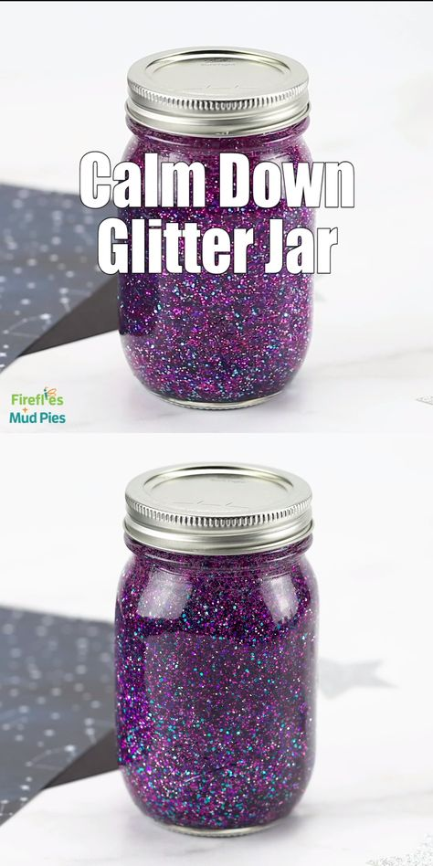 It's easy and fun to use a glitter jar for calming down, relaxation, meditation, and mindfulness. Learn how to make these beautiful purple, pink, and turquoise glitter jars here! It's easy!