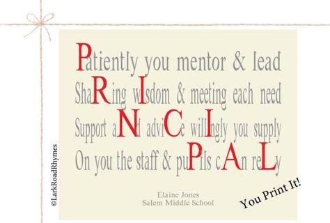 School Principal Gift Teacher Printable by LarkRoadRhymes on Etsy