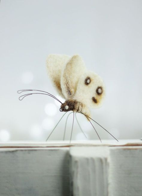 Needle Felt Butterfly Needle Felt White by FeltArtByMariana