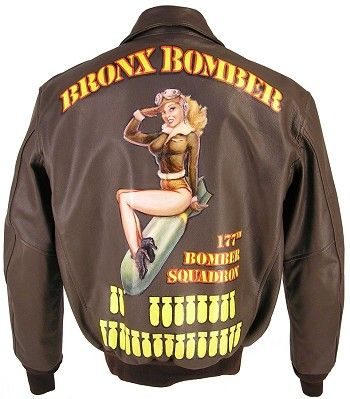 Custom Handpainted Nose Art for Jackets-Want a Jacket that Stands Out in a Crowd? We have partnered with a renowned WWII Nose Art artist to bring you custom designed Leather Jackets. Each garment is hand painted (no airbrush) and an individual work o