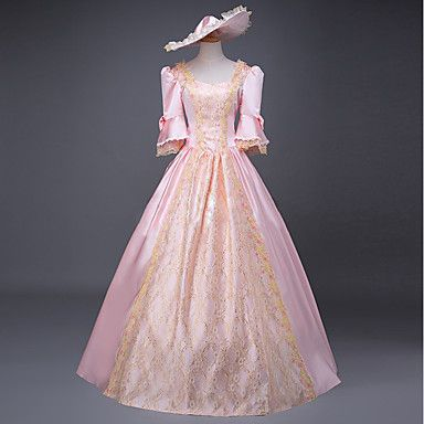 Victorian Medieval Women Belle Retro Lace Ball Gown Dress Party Palace Cosplay