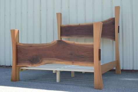 Custom Made Live Edge Walnut King Size Bed With White Oak Posts