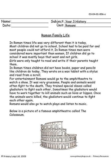 Roman Family Life Worksheet Social