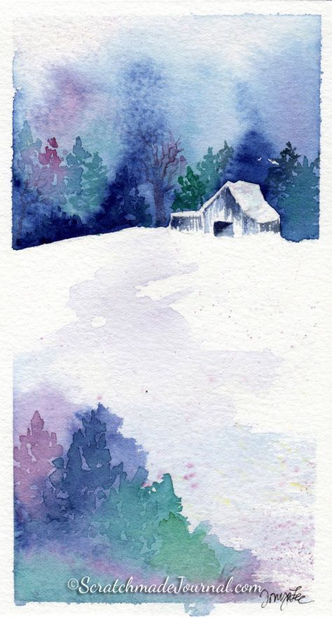 10 Minute Winter Woodland Watercolor Tutorial Watercolour