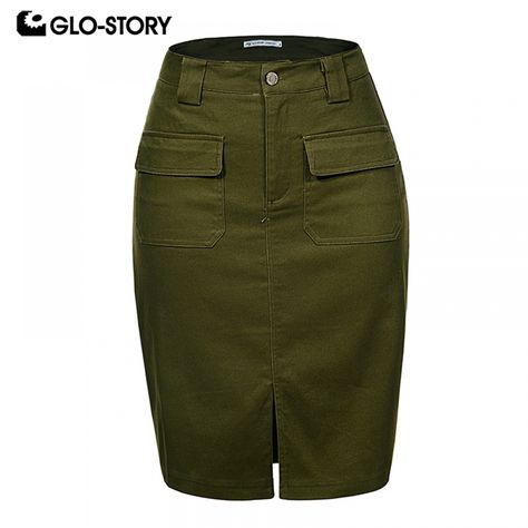 GLO-STORY 2018 Fashion Summer Women Denim Pencil Split Skirt High Waist Sexy Work Wear Ladies Skirts WQZ-1803