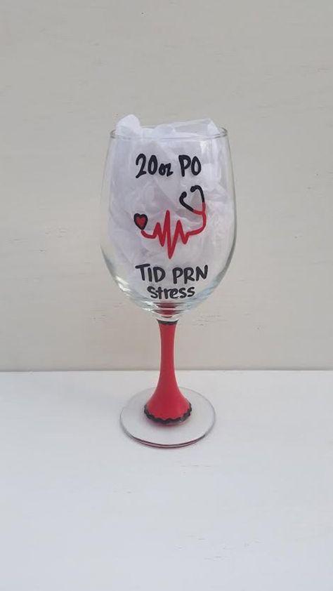 Nurse PO TID PRN Stress handpainted wine glass/nurse wine glass/nurses gifts/nursing gift