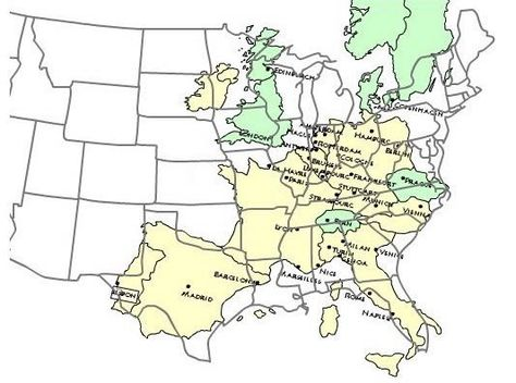 Western Europe over eastern U.S. | Map, Antique maps, Europe