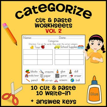Categorize & Classify Worksheets - Volume 2 (Cut and Paste ...