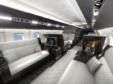 Gorgeous Private Jet Interior Design with Luxurious Furniture: Classy Furniture Collection Installed Inside Private Jet Interior Design Desi.