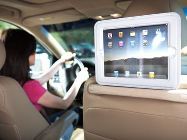 griffin cinemaseat 2 a padded case allows you to strap your ipad to the back of the drivers seat whether you cue up cartoons or kid friendly a