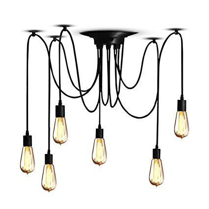 Veesee 6 Arms Industrial Ceiling Spider Lamp Fixture,Home DIY E26 Edison Bulb Chandelier Lighting,Metal Pendant Lights,Retro Chic Drop light for