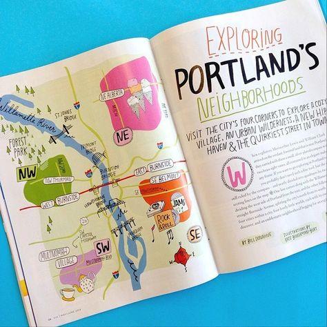 Kate Bingaman-Burt/Via Magazine. A hand drawn map of Portland