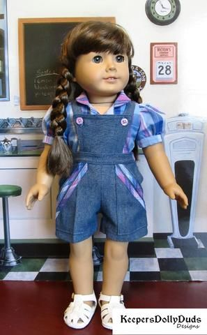 Doll Clothes Blue And Yellow Plaid Pocket Overalls And Hat