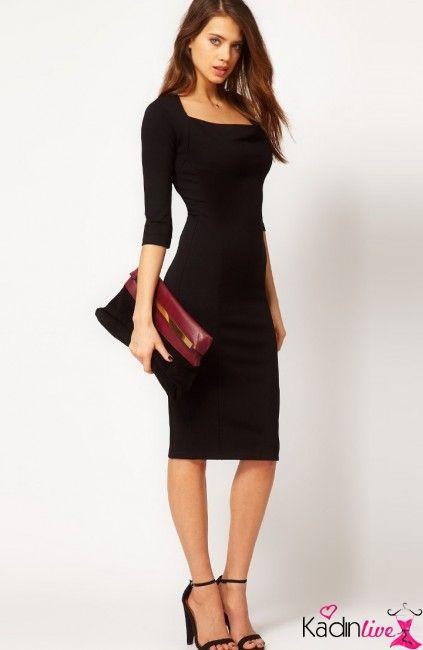 Yeni Sezon Siyah Yarim Kollu Kalem Elbise Modelleri Kadinlive Com Siyah Elbise Kalem Elbise Elbise Modelleri