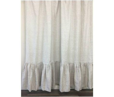 Natural Linen Shower Curtain With Mermaid Long Ruffles Medium Weight Linen Undyed Linen Custom Sh Linen Curtains Custom Shower Curtains Extra Long Curtains
