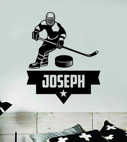 (1) Custom Hockey Name Wall Decal Sticker Vinyl Art Bedroom Room Home Deco – boop decals
