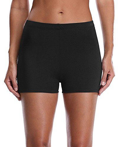 ad6f0af624f Lever Badeshorts Badehose Damen High Waist Bikinihose Schwimmhose Sport  Bikini Shorts UV Schutz Bade Hotpants Schwarz