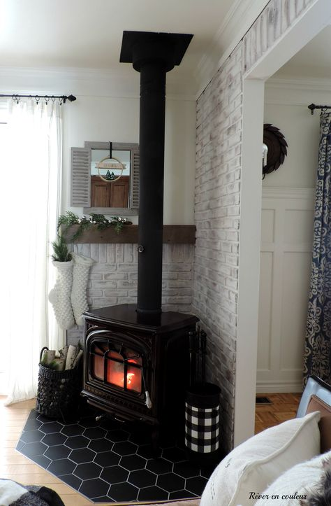 DIY Home Decor pin to attempt. Visit this decorating ref 2202013462 today. Wood Stove Surround, Wood Stove Hearth, Wood Stove Decor, Decoration Facade, Wood Burning Stove Corner, Freestanding Fireplace, Home Fireplace, Home Living Room, Great Rooms