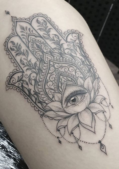 Beautiful looking and with a rich symbolism behind, lotus tattoos are absolutely gorgeous. Here you'll find everything you need to know about a lotus tattoo and some awesome imagery for inspiration. Fatima Hand Tattoo, Mandala Hand Tattoos, Lotus Mandala Tattoo, Ganesha Tattoo Mandala, Geometric Mandala Tattoo, Tattoo Abstract, Geometric Sleeve, Geometric Tattoos, Hindu Tattoos