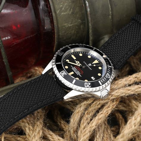 20mm, 21mm or 22mm Strong Texture Woven Nylon Black Watch Strap, Brush - Strapcode