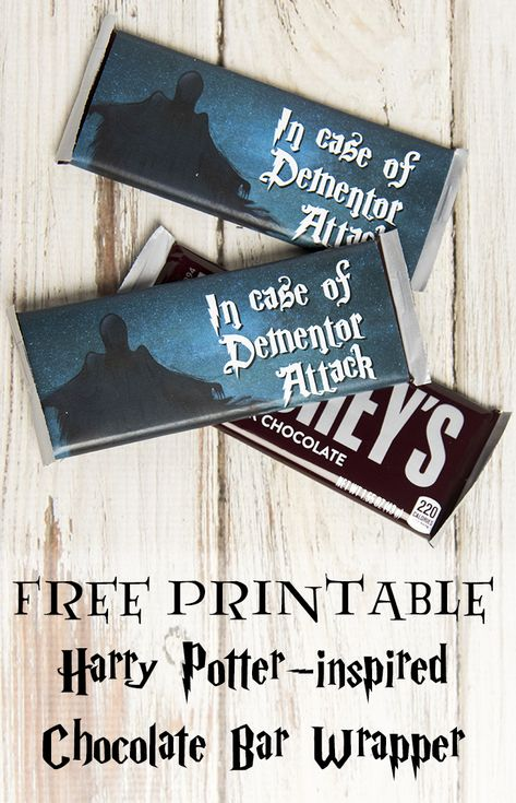 """Free printable """"In Case of Dementor Attack"""" chocolate bar wrapper, perfect for your Harry Potter party! via @lizzp"""