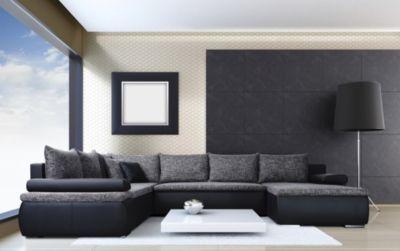Wohnzimmer Schwarz Grau, baidani designer sofa m. schlaffunktion dargle iii - schwarz/grau, Design ideen