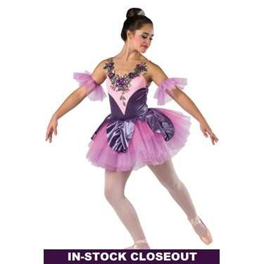 Lilac Showgirl Jazz Tap Dance Costume with GOLD Backskirt CXS,6X7,AM