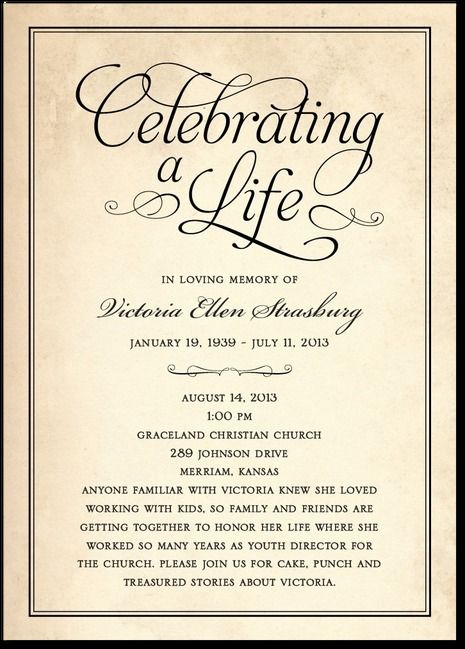 Memorial invitation Memorial Celebration of Life ideas Funeral
