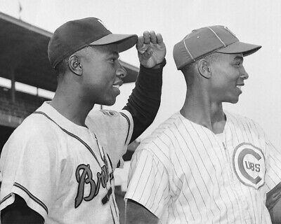 "Hank Aaron & Ernie Banks- 8"" x 10"" Photo- 1957- Braves- Cubs Baseball    eBay   Ernie banks, Chicago cubs history, Braves"
