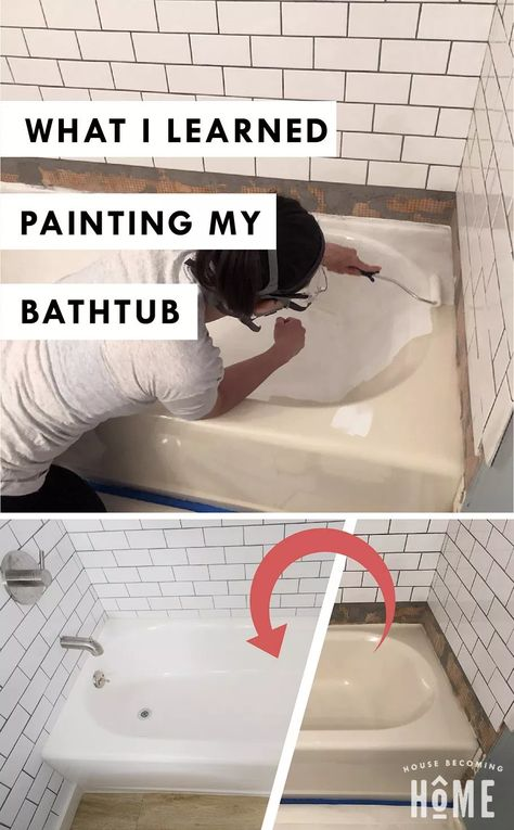 I Learned Painting my Bathtub. Six tips for refreshing an outdated bathtub with a simple tub and tile kitWhat I Learned Painting my Bathtub. Six tips for refreshing an outdated bathtub with a simple tub and tile kit Diy Bathroom Remodel, Bathroom Renovations, Home Renovation, Rv Bathroom, Concrete Bathroom, Home Remodeling Diy, Bathroom Faucets, Cheap Remodeling Ideas, Inexpensive Bathroom Remodel