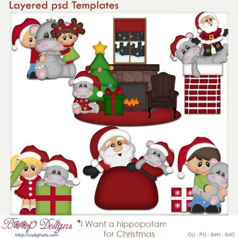 Hippo For Christmas.Pinterest
