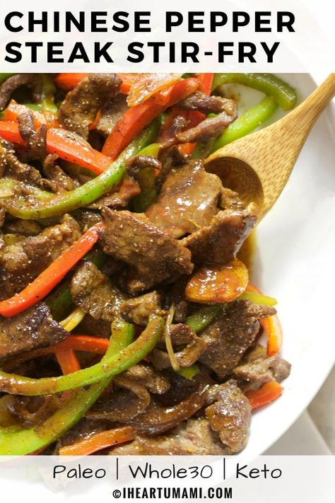 The best Saucy Paleo Chinese Pepper Steak Stir-Fry recipe with homemade Worcestershire steak sauce. This healthy Pepper Steak is easy, quick, low carb, and gluten-free with no added sugar. A healthy, delicious takeout recipe everyone in the family can enjoy! #Iheartumami #peppersteak #Stirfry #chineserecipe #easyrecipes #paleorecipes #Whole30peppersteak #Ketopeppersteak