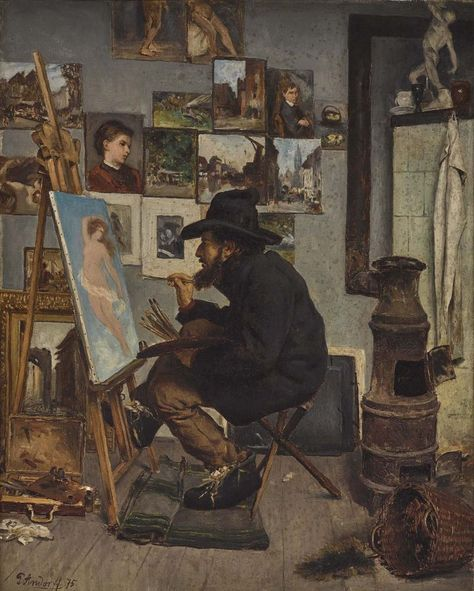 Paul Andorf (1849-1920) -Freezing artist before his easel in his unheated studio, oil on canvas, 59 x 48 cm. 1875.
