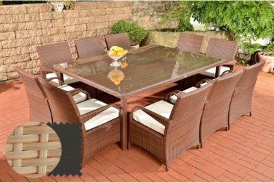 Clp Polyrattan Xxl Sitzgruppe Pizzo Gartengarnitur Bestehend Aus 10 Stuhlen Und Einem Tisch In Verschiedenen Gartenmobel Sets Gartenmobel Outdoor Dekorationen