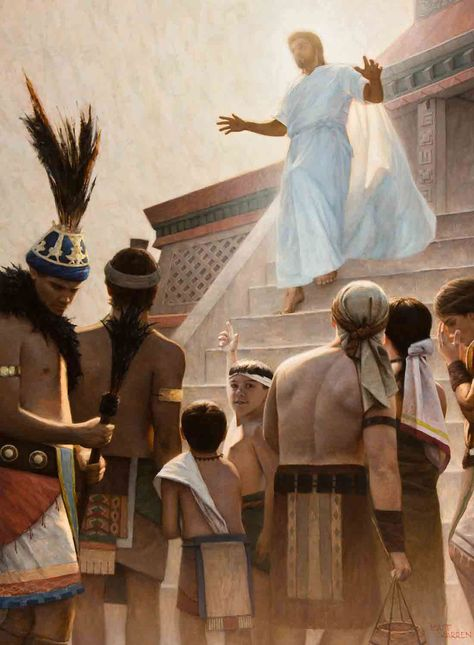 What makes Nephi the Holy of Holies of the Book of Mormon? Jesus Christ at the Temple at Bountiful. Other Sheep by Matt Warren. Book Of Mormon, Mormon Stories, God Jesus, Jesus Christ, Jesus Resurrection, Restoration Scriptures, Pictures Of Christ, Lds Pictures, Padre Celestial