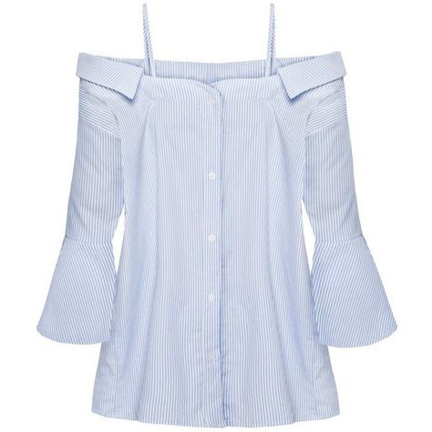7dd396ff80a Strappy off the Shoulder Stripe Cotton Shirt ❤ liked on Polyvore featuring  tops, cotton shirts, baby blue button down shirt, off shoulder tops, ...