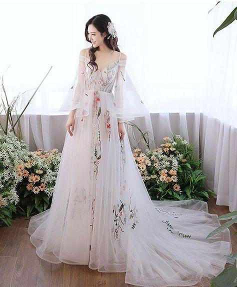White v neck tulle lace applique long prom dress, white evening dress - us:2