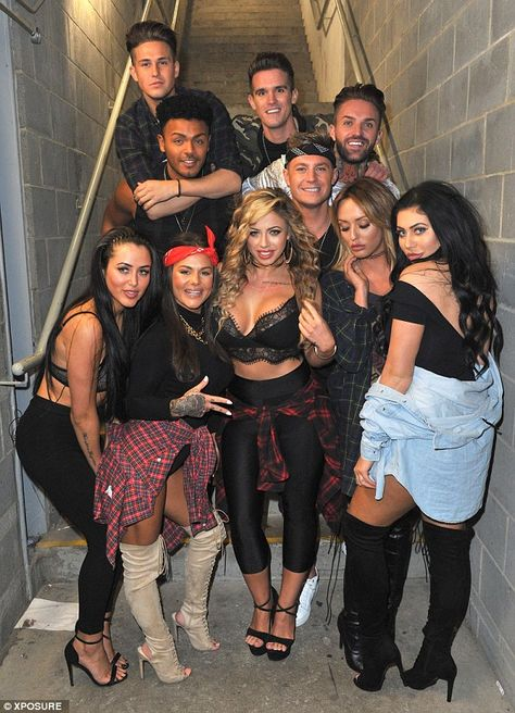 Geordies assemble: They posed with the boys and they all appeared in high spirits...