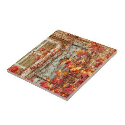 Autumn Leaves Orange Red Country Antique Window Ceramic Tile Zazzle Com Ceramic Tiles Antique Windows Country Antiques